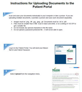 Instructions for uploading documents to the patient portal with images